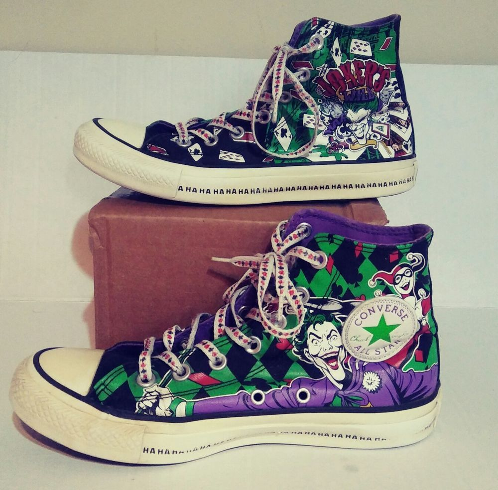 3ad8ecb05048 Jokers Wild Converse All Star Shoes MENS 6 WOMENS 8 Harley Quinn Unisex  High Top  Converse  Athletic