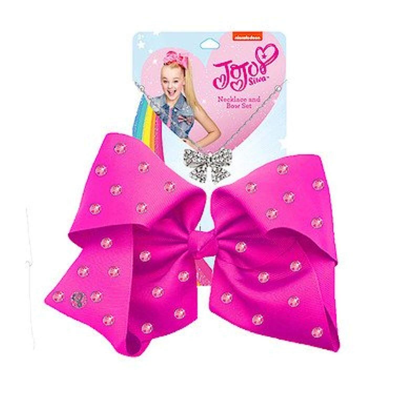 Pink Rhinestone Bow JoJo Bows Jojo Siwa Earrings /& Necklace Jewellery Set