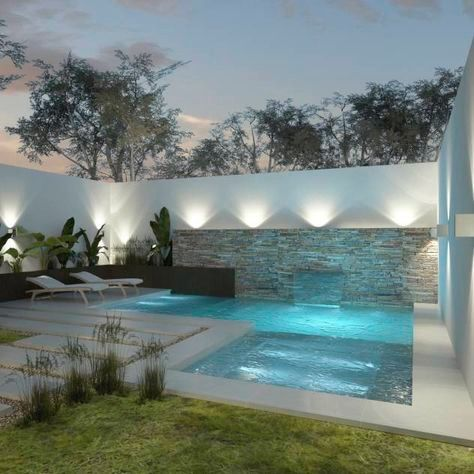 Love the pools backdrop with uplighting Piscinas pequeñas