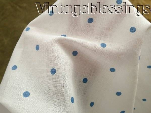 Vintage 30s Sheer White Cotton Blue Polka Dot Fabric Piece 45x35 Wide