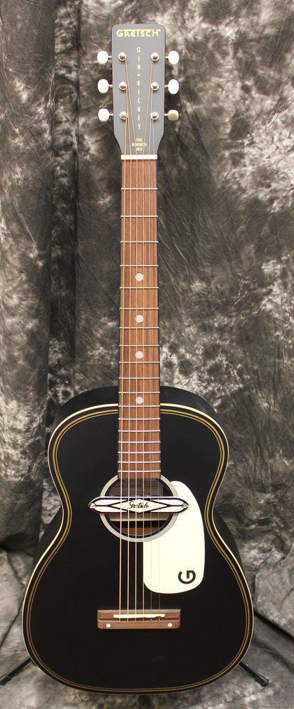 Gretsch G9520e Gin Rickey Acoustic Electric W Soundhole Pickup Walnut Fingerboard Smokestack Black Gretsch Acoustic Electric Acoustic Guitar For Sale