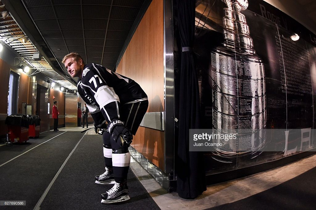 Jeff Carter #77 of the Los Angeles Kings prepares for the game against the Montreal Canadiens on December 4, 2016 at Staples Center in Los Angeles, California.