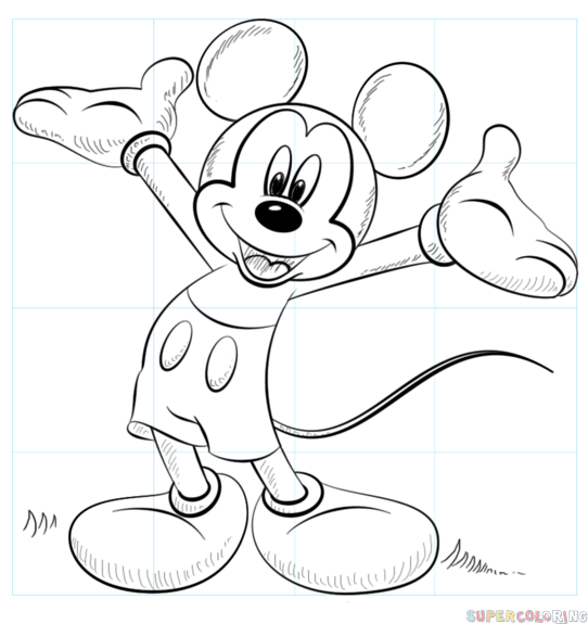 How to draw Mickey Mouse step by step. Drawing tutorials for kids ...