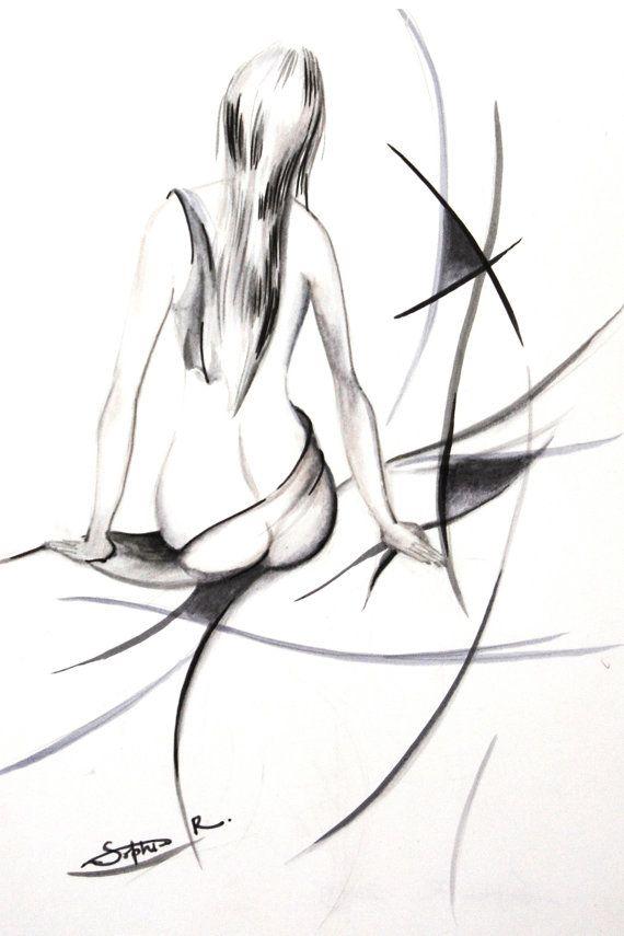 Woman Figure Drawing Art Print, Minimalist Black and White, Figurative Abstract Nude Wall Art