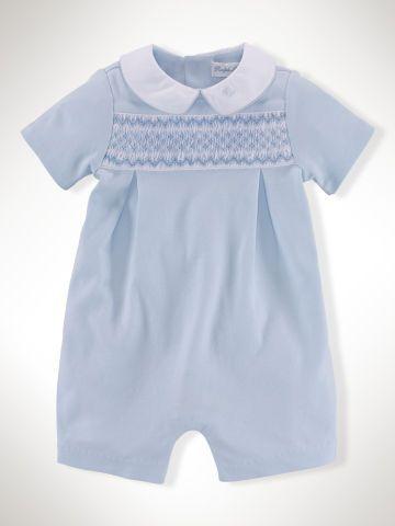 db395a0f73 Pima Cotton Smocked Shortall - Baby Boy One-Pieces - RalphLauren.com ...