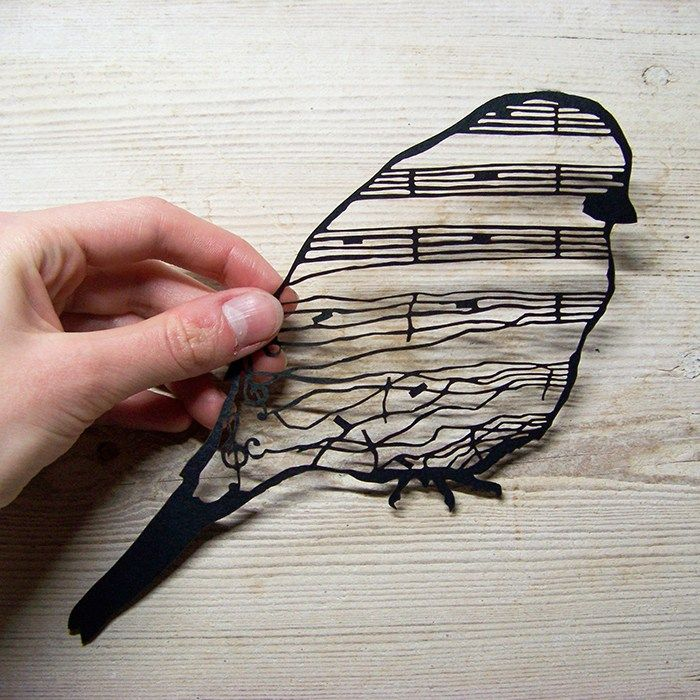 Bird of Silence papercutting by Silver Crane silver-crane.com