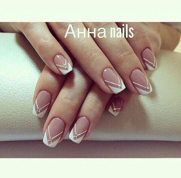 white and stripe nail design