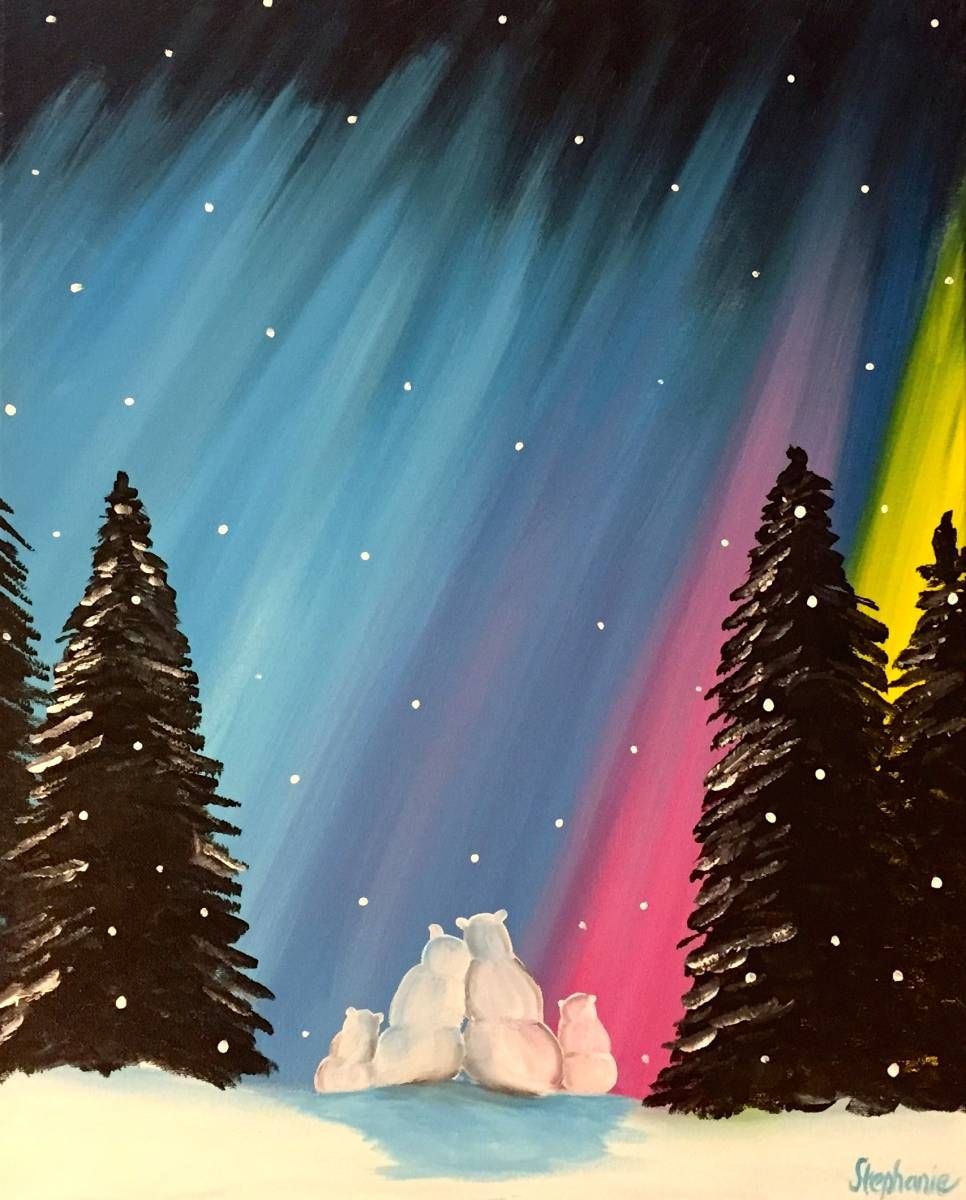 Polar Bear Aurora Nights 35 Art Christmas Paintings Winter Lesson