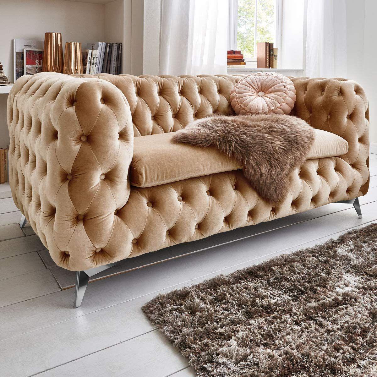 Chesterfield Sofa Couch Stoff Samt 3 Sitzer 2 Sitzer Sessel 1 Sitzer Designer Mobel Emma 2 Sitzer Beige Amazon Chesterfield Sofa Sofa Couch Wohnzimmer Sofa