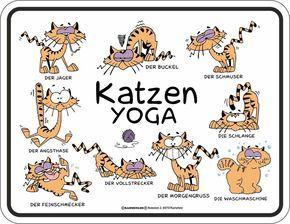 Katzen Sprüche   Yoga   Spruch Blechschild Mit 4 Saugnäpfen   Größe 22x17  Cm: Amazon