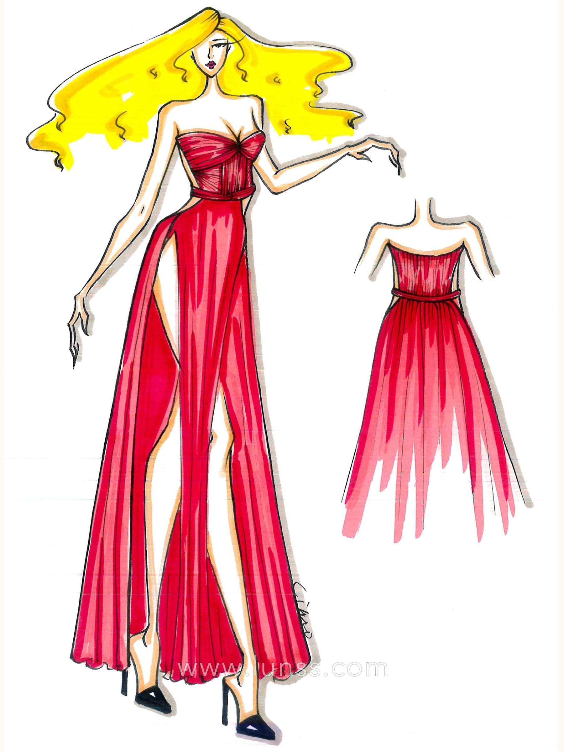 Fashion Sketches Prom Dresses Red