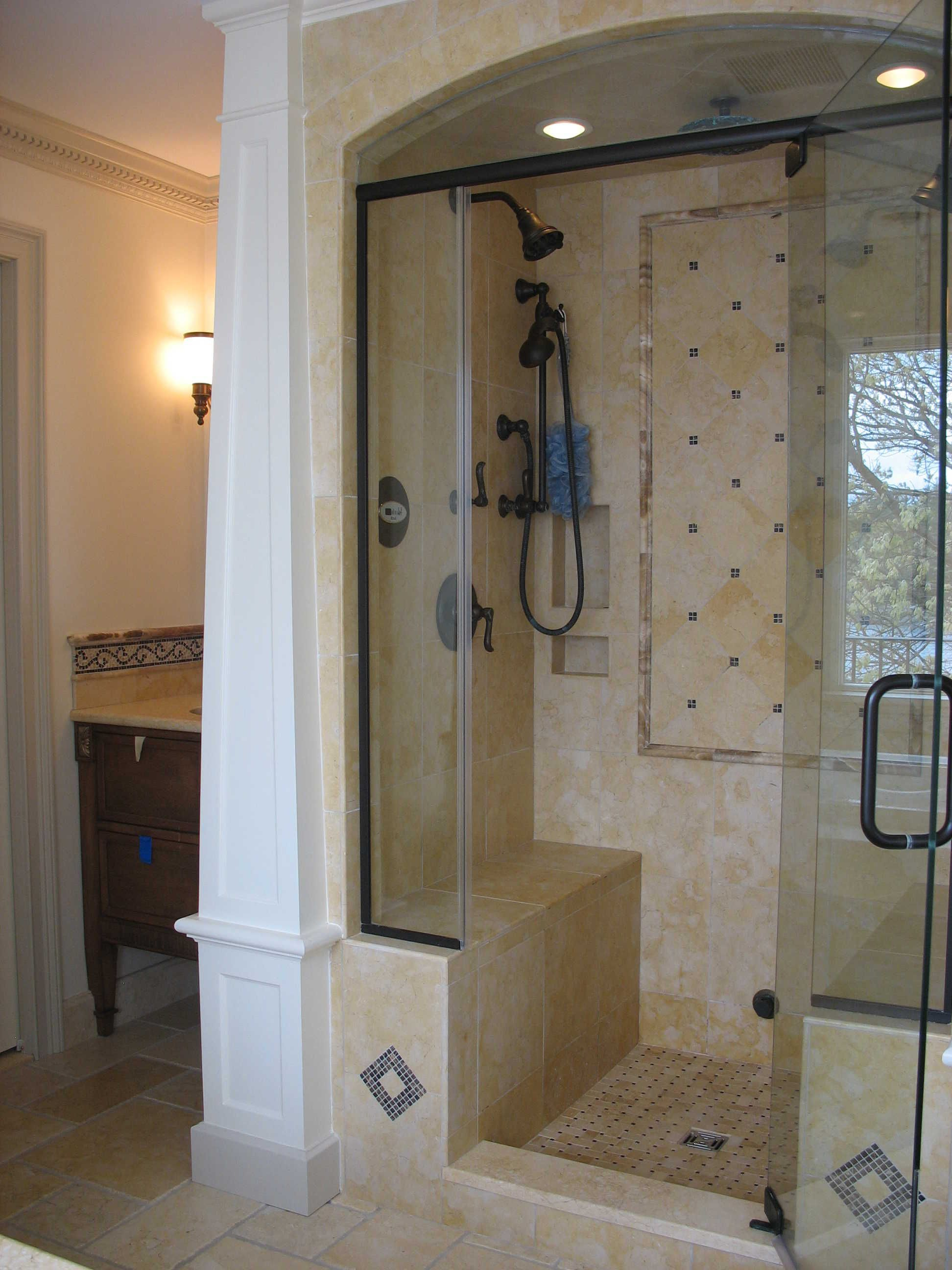 Walk in shower doors swing door single handle entry for Stand up shower ideas