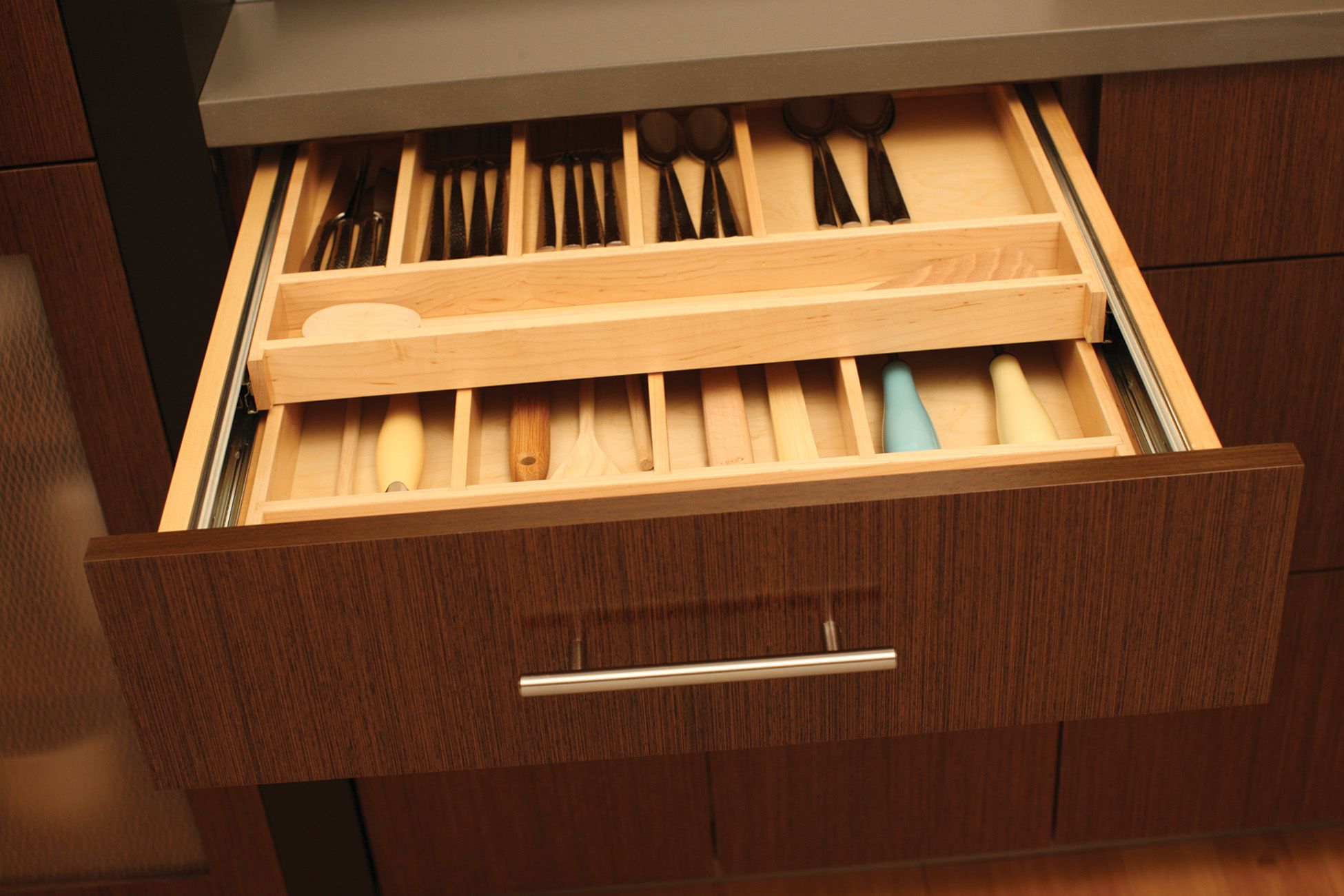 Maximize Drawer Space With A Two Tier Wood Cutlery Tray By Dura Supreme To Organize Silverware And Utens Loft Storage Kitchen And Bath Design Storage Solutions