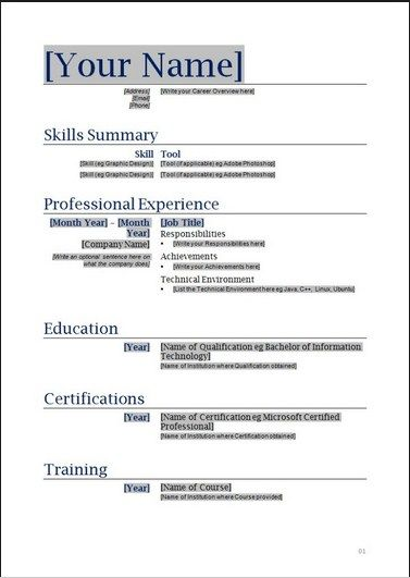 Combination Resume Template Free job Resume template free