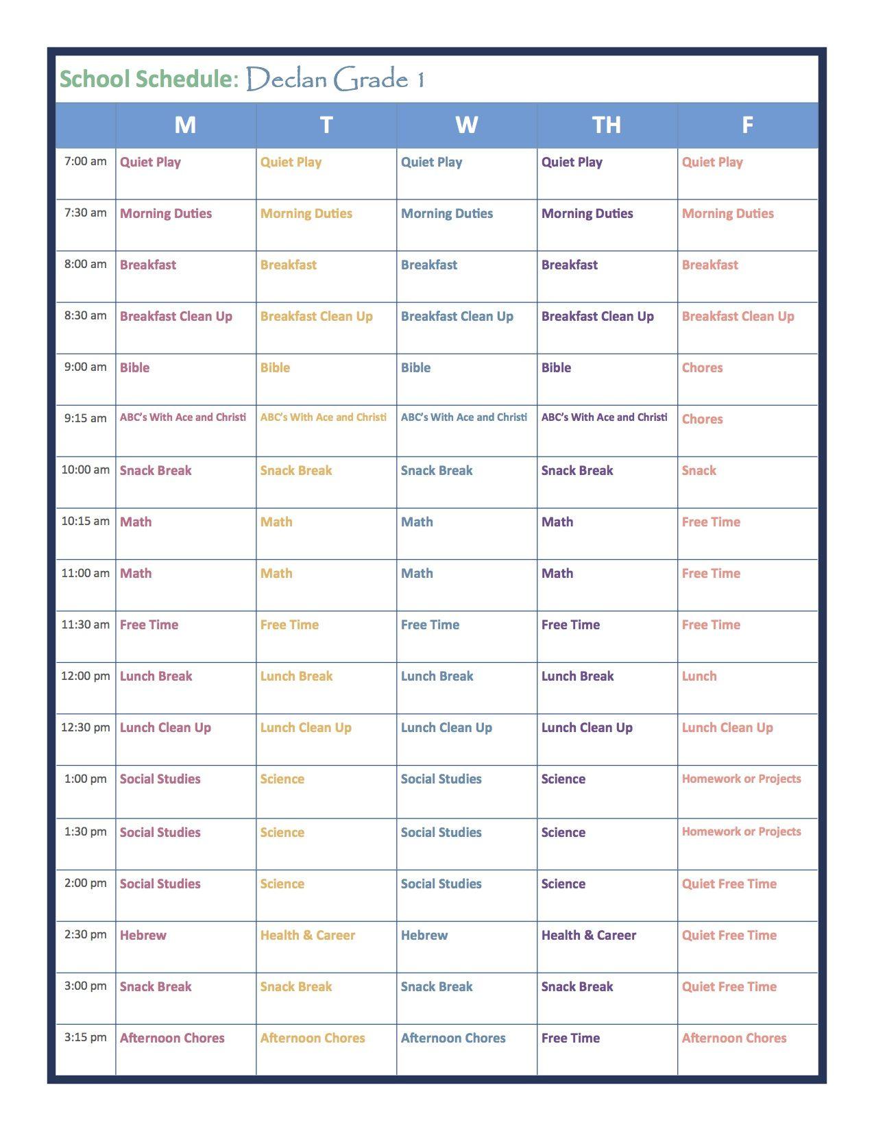 Grade 1 Homeschool Schedule