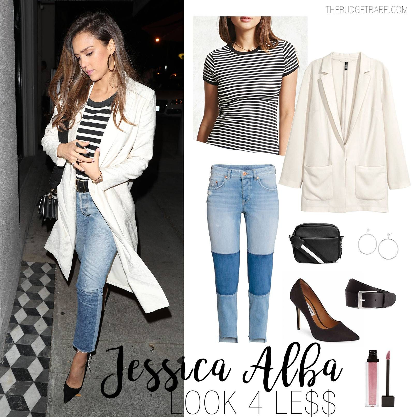 Jessica Alba striped top and white blazer look for less