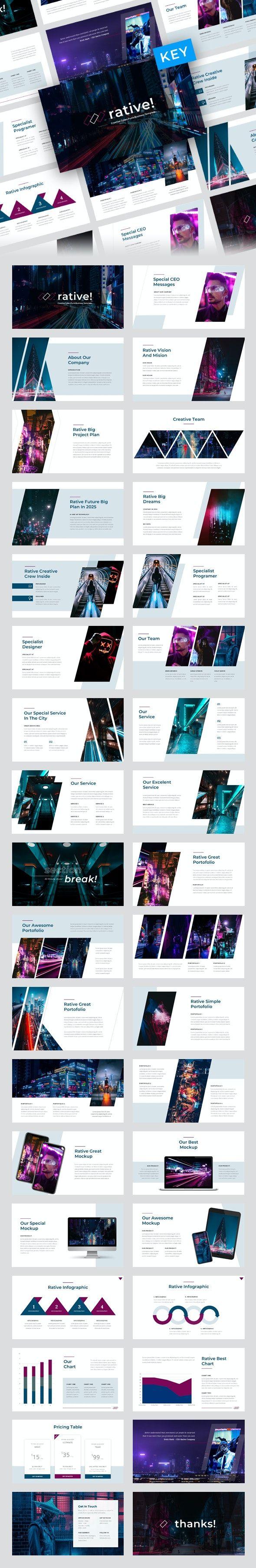 Rative - Creative Cyber Punk Business Keynote Template by PradiptaCreative Discount 50%