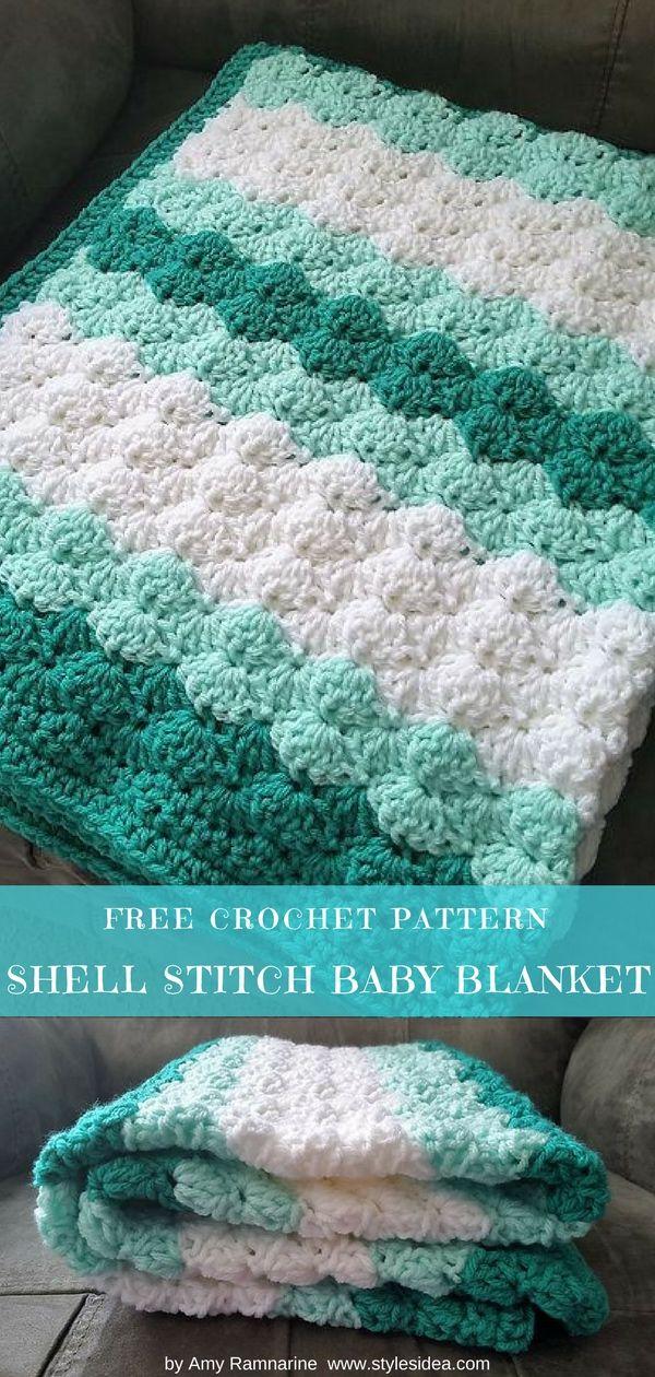 Shell Stitch Baby Blanket Free Crochet Pattern | Decken, Häkeln und ...