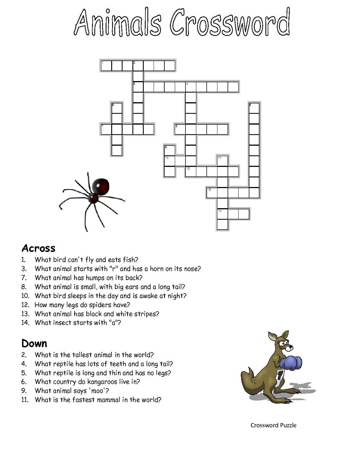 Crossword Puzzles Kids Animal