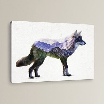 """Mercury Row Rocky Mountain Grey Wolf Painting Print on Wrapped Canvas Size: 12"""" H x 18"""" W x 2"""" D"""