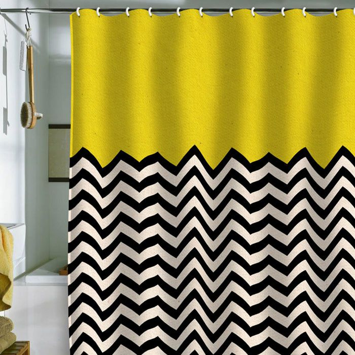 Graphic Black White And Yellow Shower Curtain