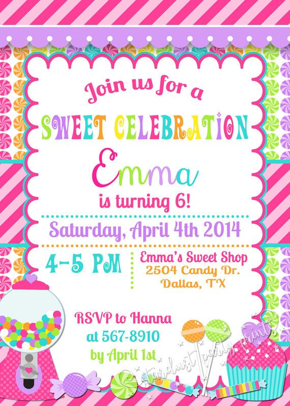 Candy Birthday Invitation Candyland