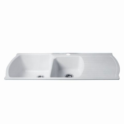white kitchen sink with drainboard. View Chandler Corian Drainboard Kitchen Sink In Glacier White (950) With H