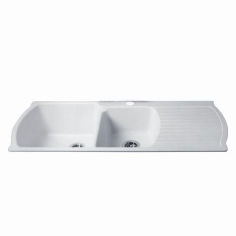 View Chandler Corian Drainboard Kitchen Sink In Glacier White 950