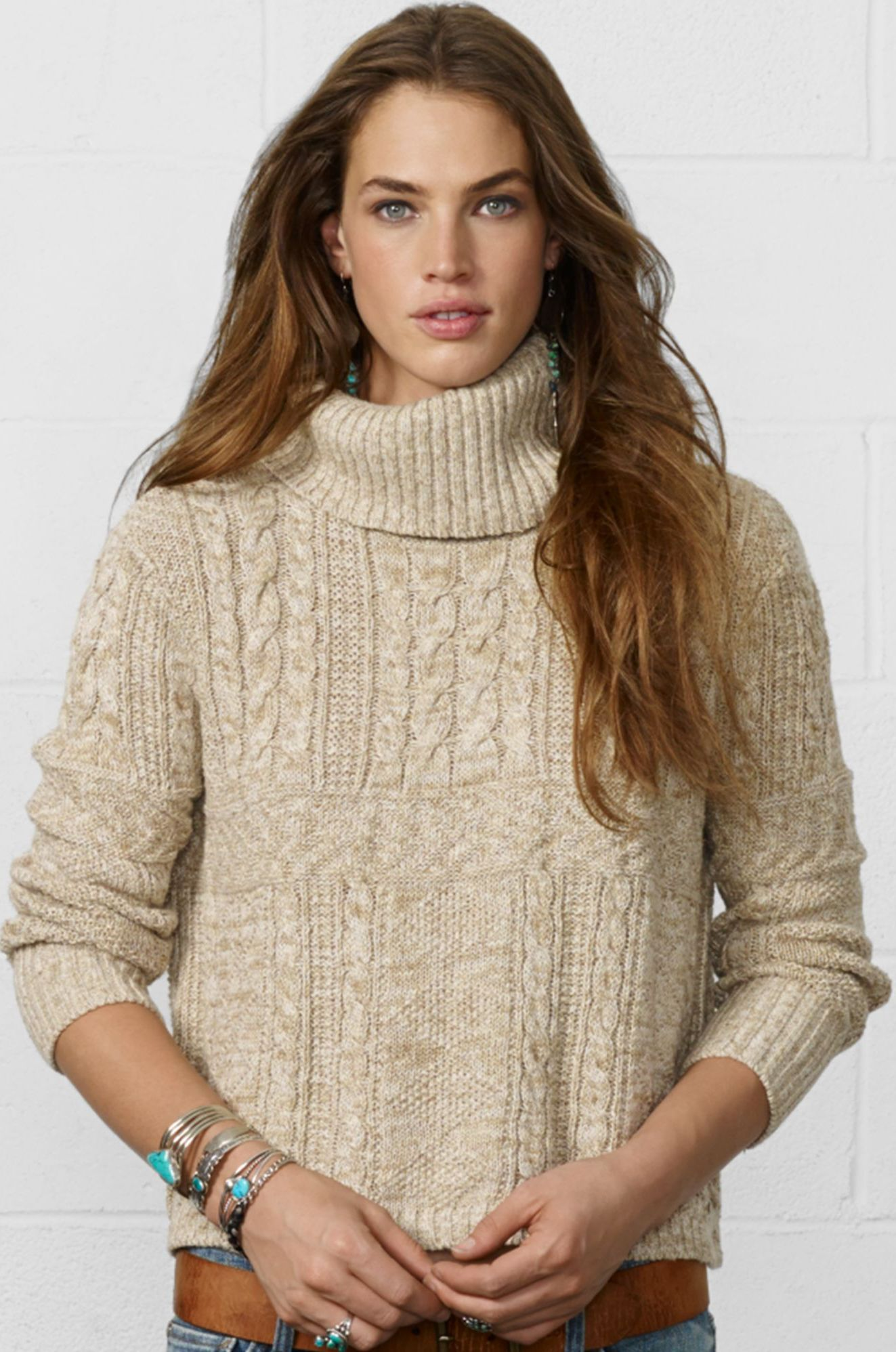 Denim Supply Ralph Lauren - natural cropped cable knit turtleneck ...