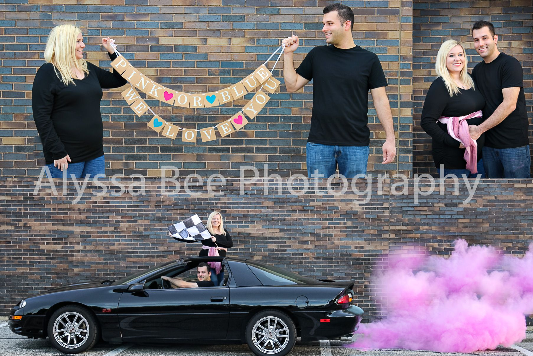 Exhaust Powder Was Ordered On Amazon And The Banner Is From Etsy Pour Powder Into Exhaust And Rev Baby Gender Reveal Baby Shower Gender Reveal Maternity Poses
