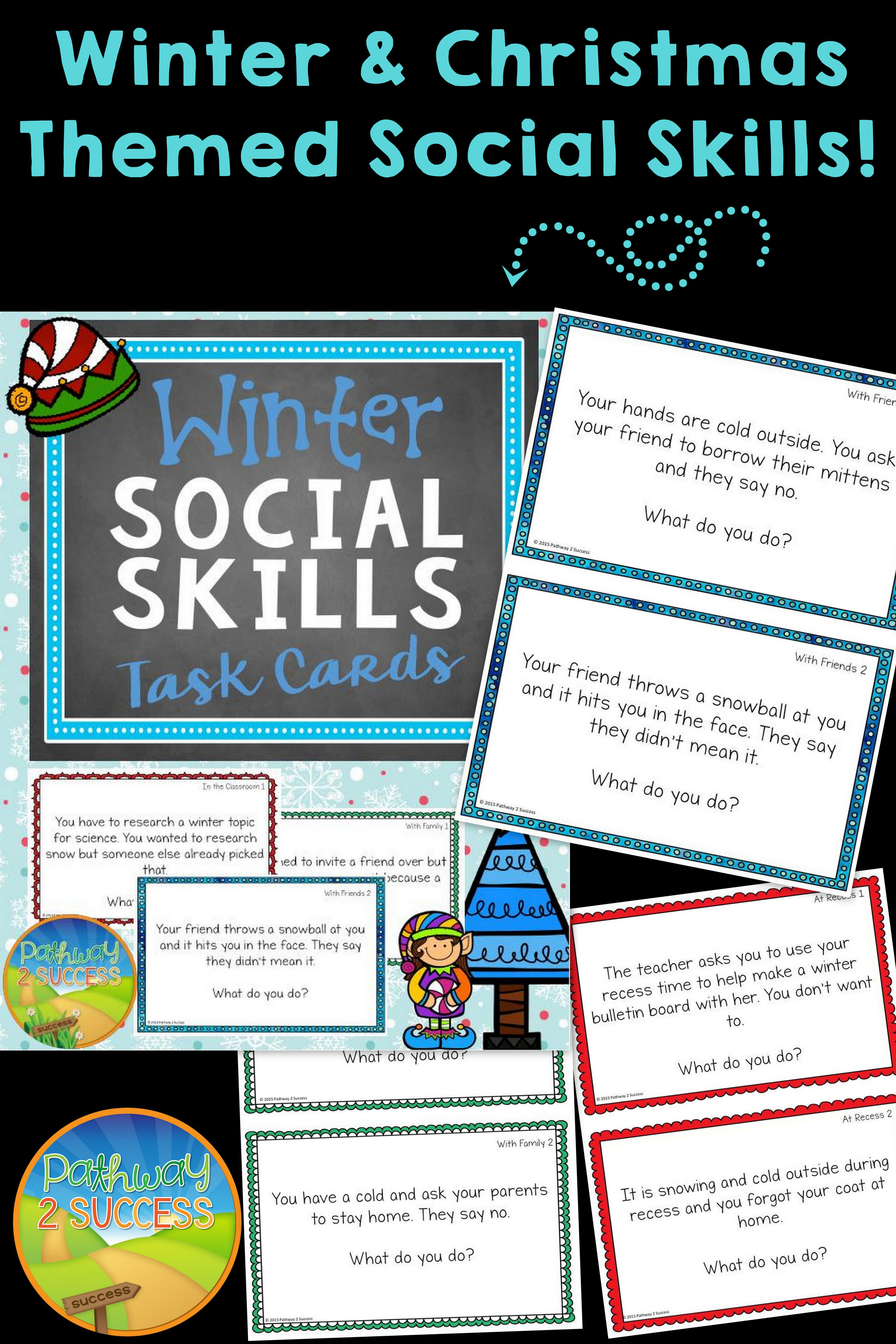 Winter Social Skills Task Cards   Holidays: Christmas   Pinterest ...