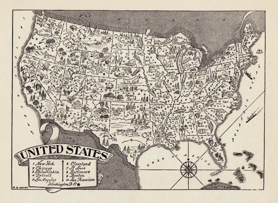 Vintage Map Of The United States.50 S Vintage United States Picture Map Pictorial United States Print