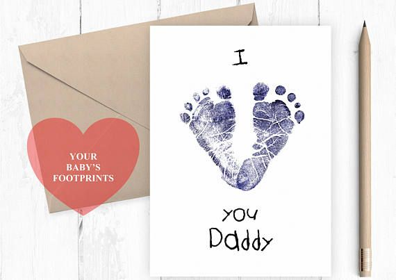I Love You Daddy Baby Footprints Card