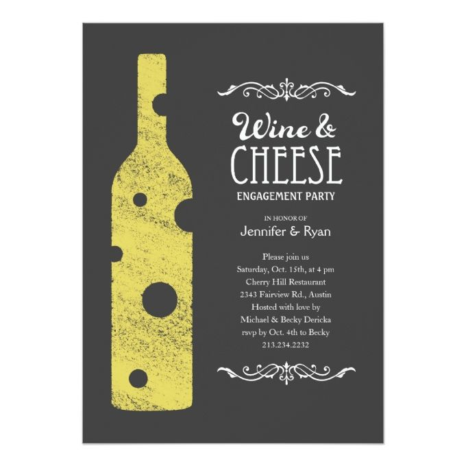 Cheese And Wine Invitation Alternate Wording Engagement Party