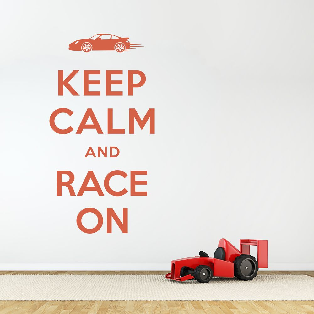 Race Car Quotes Keep Calm And Race On Wall Quote Decal  Bedroom  Pinterest