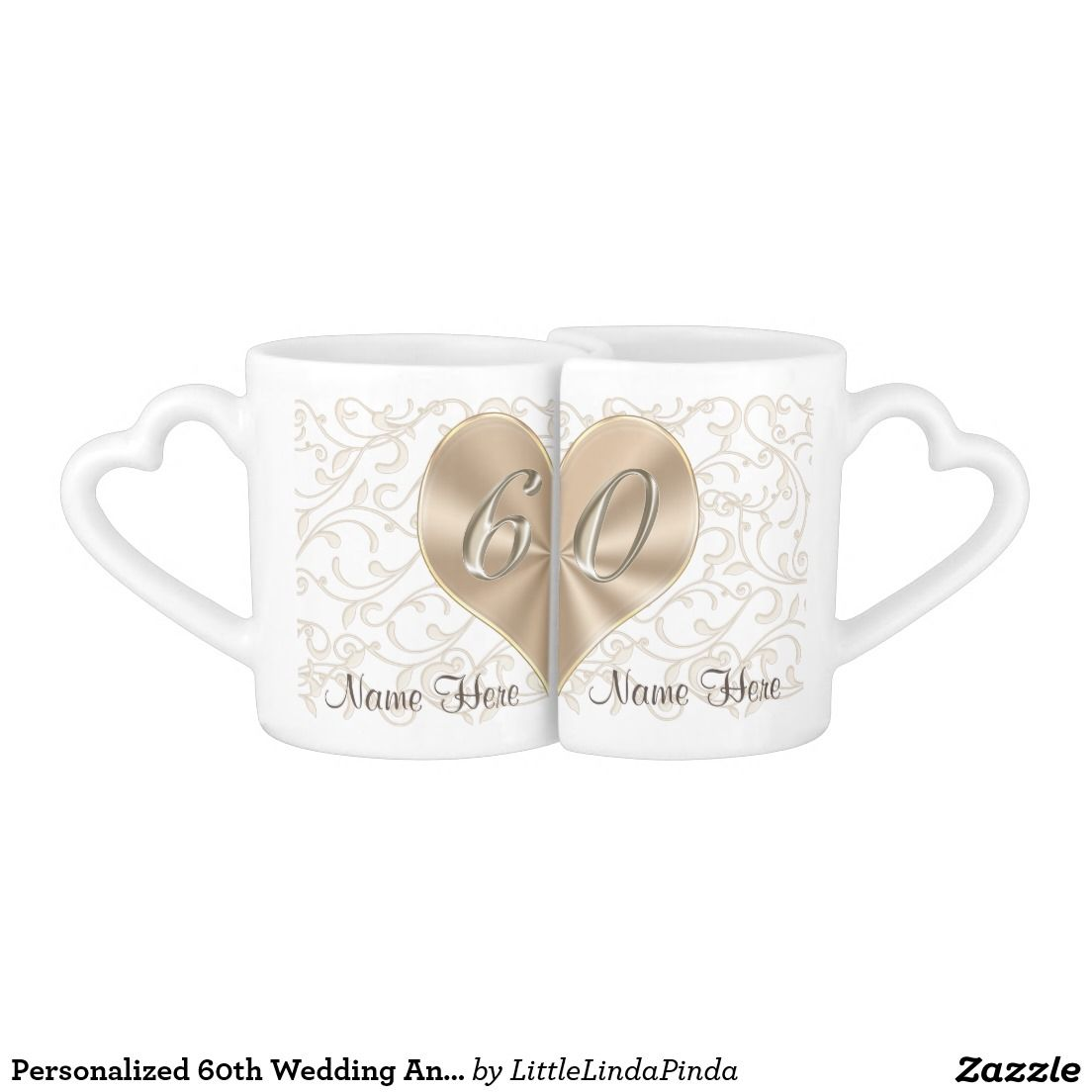 Personalized 60th Wedding Anniversary Lovers Mugs | Wedding Gifts ...