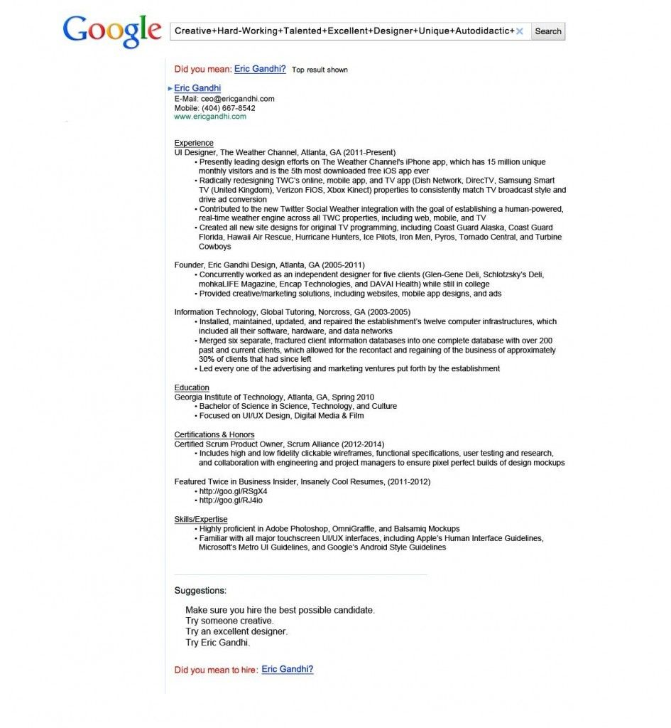 The Google Search Resume by Eric Gandhi | Resume | Pinterest