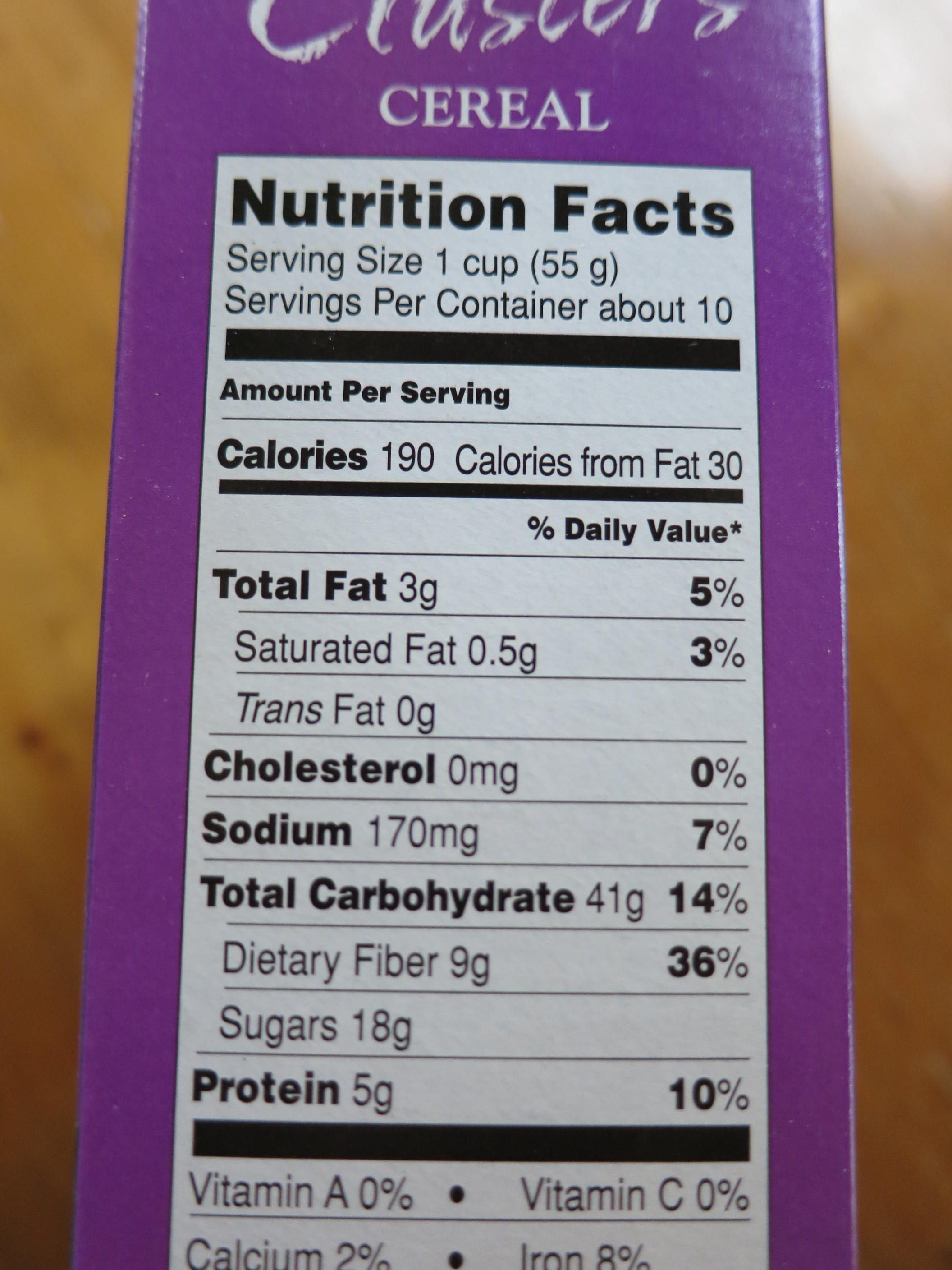 Raisin Bran Food Label