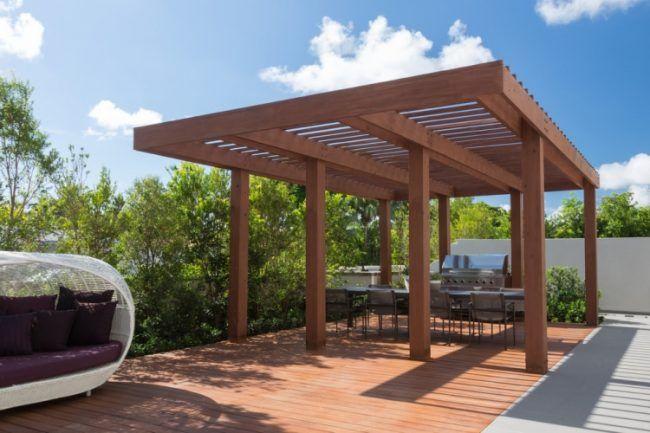 Holz Pergola Garten Freistehend Essbereich Freien Outdoor Grill