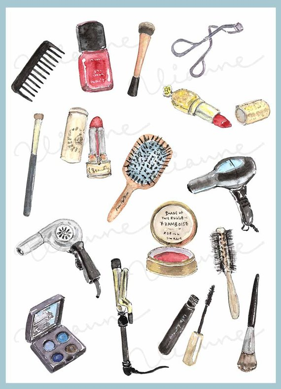 Clip Art Watercolor Vintage Cosmetics Set 16 Images Digital