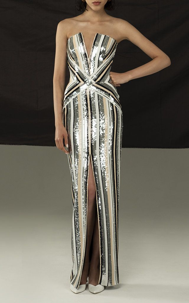Rasario Sequin Fitted Gown Designer Evening Gowns Fancy Dresses Evening Outfits