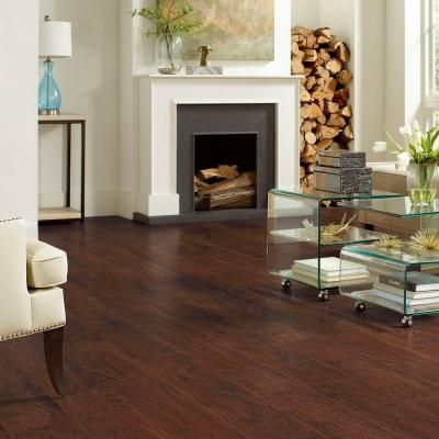 Trafficmaster Dark Brown Hickory 7 Mm Thick X 8 1 32 In Wide X 47 5 8 In Length Laminate Flooring 23 91 Sq Ft Case