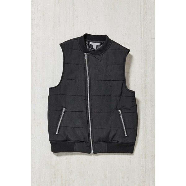 Quilted Moto Vest (180 BRL) ❤ liked on Polyvore featuring men's fashion, men's clothing, men's outerwear, men's vests, mens sleeveless vest, mens vests outerwear, mens quilted vest, mens nylon vest and mens vest