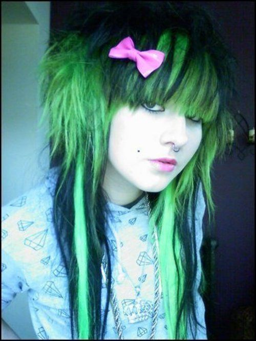 Scene Hair In Green And Black Hair Colors Ideas Green Hair Hair Color Scene Hair