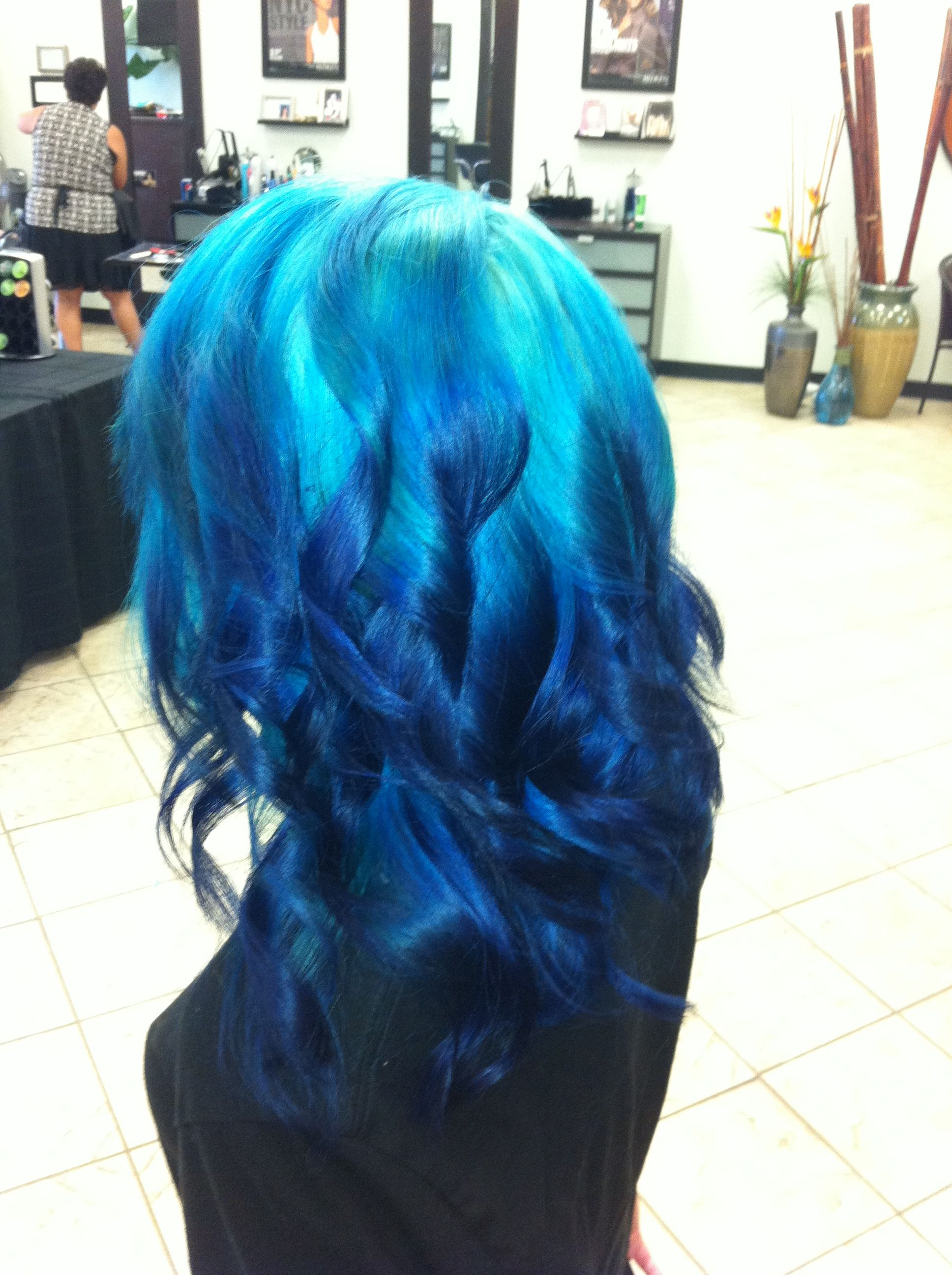 Ombre blue hair color recommend dress for on every day in 2019