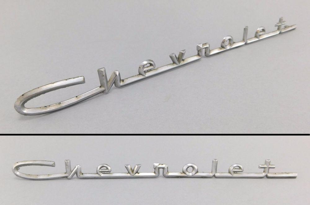 Original 1950 Amp 039 S Vintage Chevrolet Script Emblem 1957