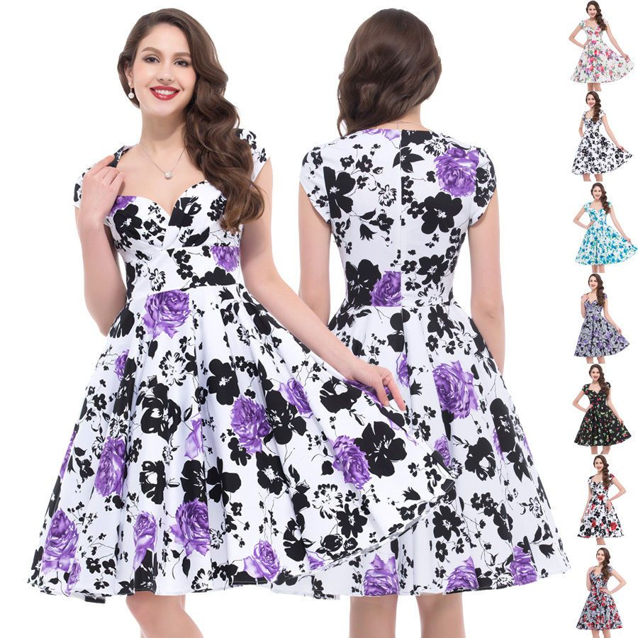 Vintage retro swing us us pinup housewife prom dress plus size