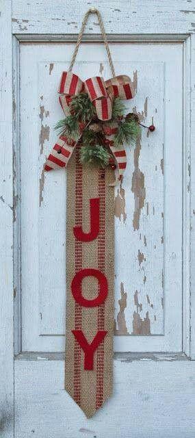 joy burlap diy so simple glue red felt to burlap add bow burlap christmas decorationschristmas - Burlap Christmas Decorations To Make