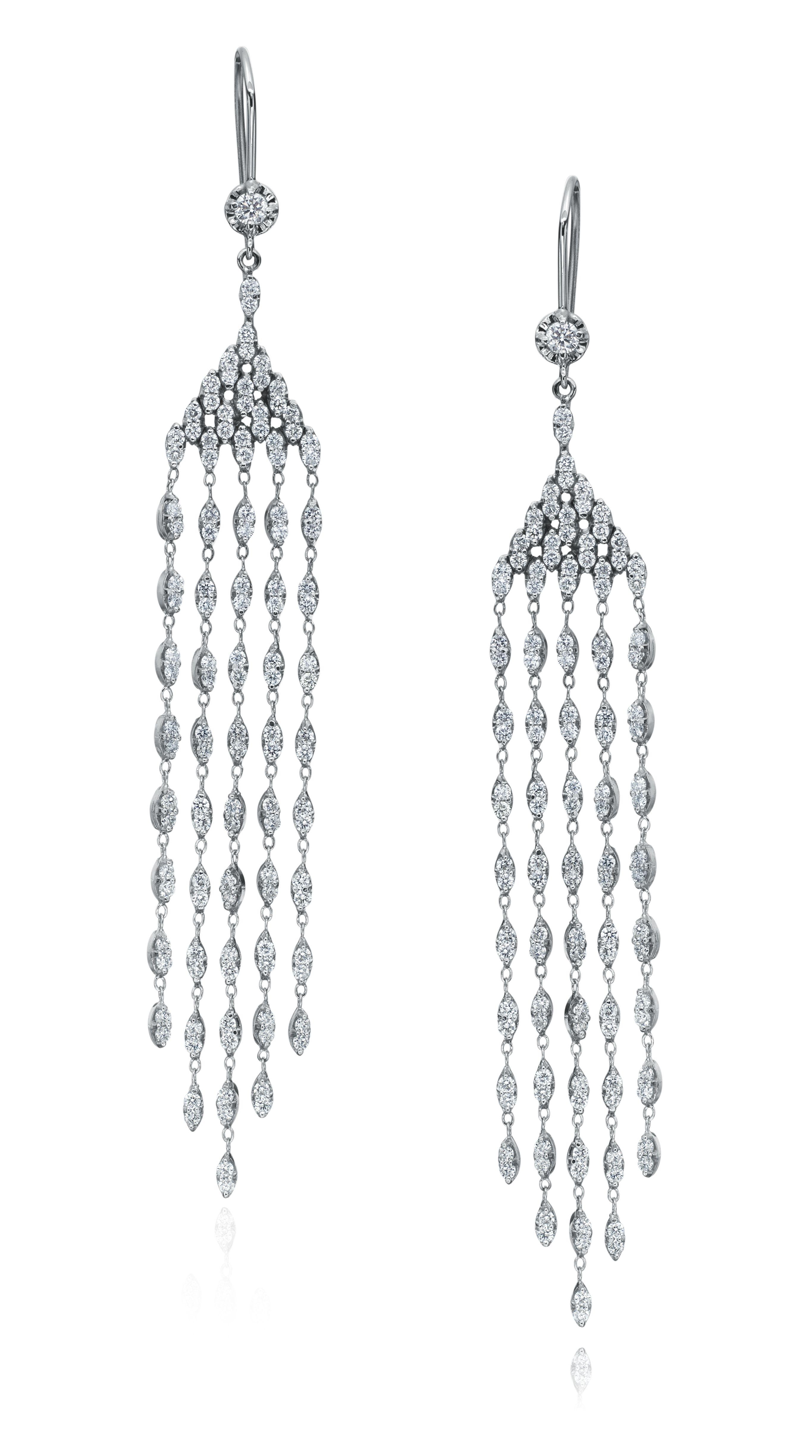 Yanina co 18k white gold and diamond chandelier earrings with 18k white gold and diamond chandelier earrings with diamond strands aloadofball Images