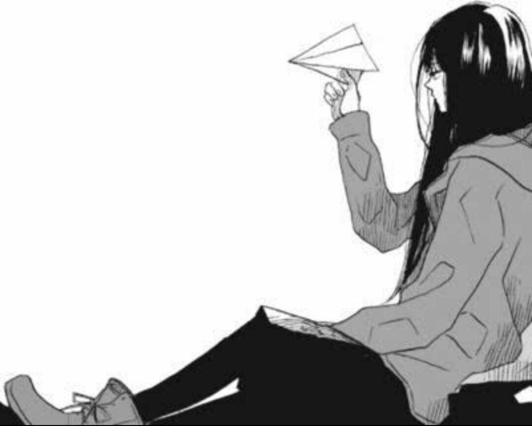 Garota paper airplane anime manga black white in 2019